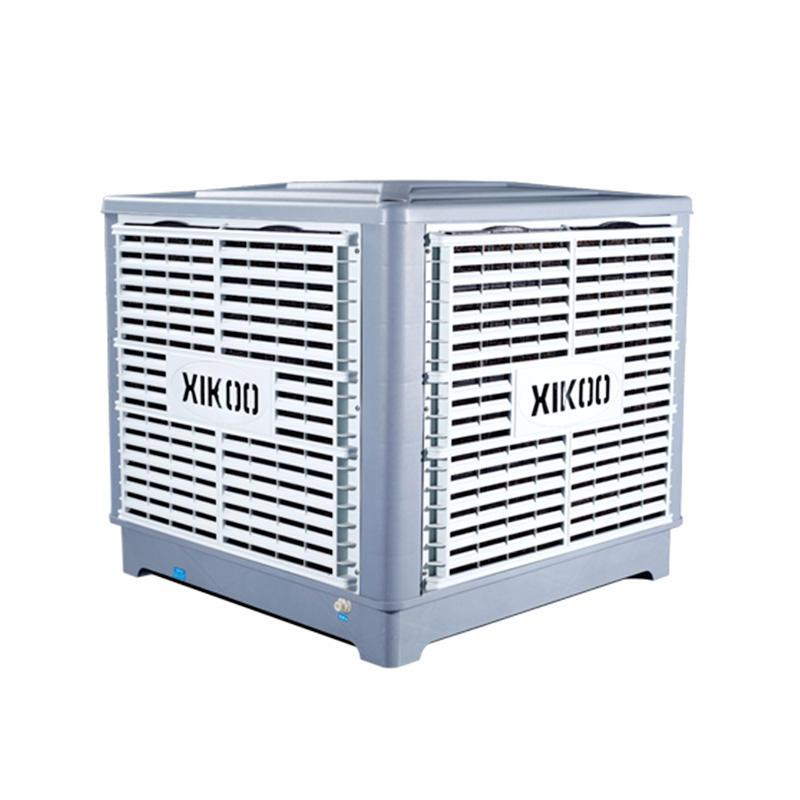 XIKOO four blades 23000m³/h 1.3kw industrial evaporative air cooler for 100-200㎡area XK-23S-DOWN with 100mm thickness 5090# cooling pads