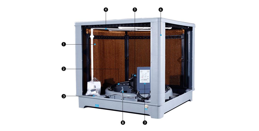 Xingke-Water Air Cooler | Down Flow 25000m³H 15kw Evaporative Air Cooler-3