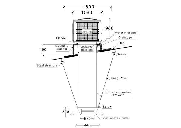 Xingke-Xikoo 30000m³H 3kw Warehouse Workshop Evaporative Cooling Fan-1