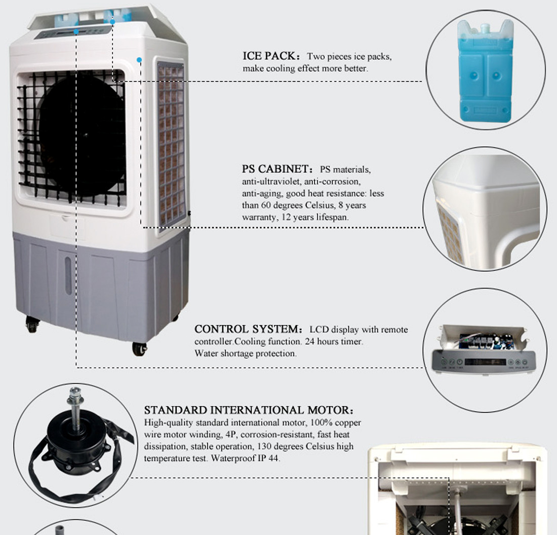 Xingke-Portable Water Fan Cooler Xikoo 5000m³h 150w Home Air Cooler-1