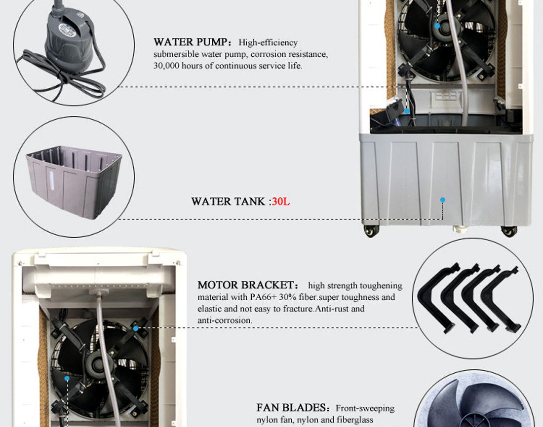 Xingke-Portable Water Fan Cooler Xikoo 5000m³h 150w Home Air Cooler-2